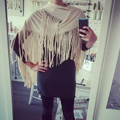 Taken by the Sky, Dreams Unwind, Love's a State if Mind, Dreams Unwind ~ Fleetwood Mac  Channeling our inner Stevie Nicks in our Festival Fringe in Quinoa. #bicyclebydowntownbetty #fringe #festivalfringe #fringetastic #gypsystyle #scarf #shawl #hippiestyle #newcolour #quinoa #cream #casualglamour #bohogypsy #springcolour #birdsofafeather #stevienicks #fashionicon #naturalfiber #ridingpants #twotone #leggings #longsleevetshirtdress #downtownbetty #lovelife www.downtownbetty.com (at ...