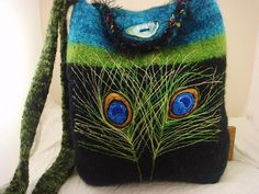 Felted Tote Purse Handbag Peacock feathers by FeltedFantasies, $215.00