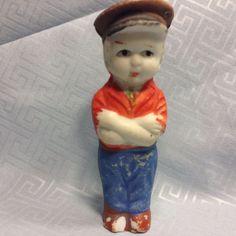 Vintage Made Japan # C56 Bisque Boy Doll Hat Jeans Miniature Porcelain Figurine