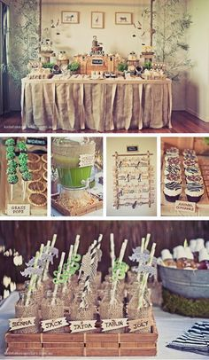 Cute little touches like grass around bottles, table skirt, and zebra print napkins!