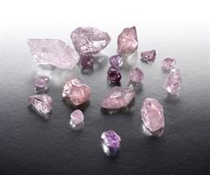 Pink and violet raw diamonds
