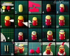 Fondant/gumpaste minion tutorial. Photo only (no link to directions).