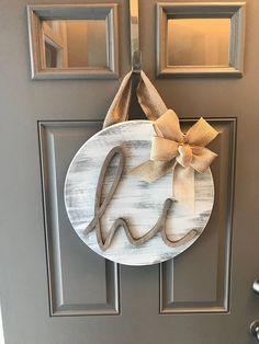 Hi Door Hanger, Front Door Decor, Front Door Wreath Year Round, Distressed Door Hanger, Sign For Front Door, Door Hanging, Rustic Door Decor