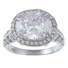La Preciosa Sterling Silver Cubic Zirconia Oval Ring