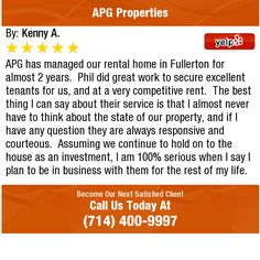 APG has managed our rental home in Fullerton for almost 2 years.  Phil did great work to...