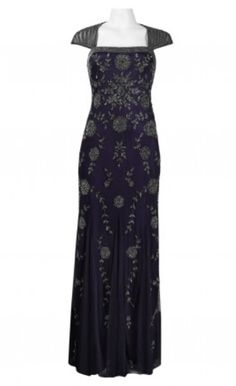 ADRIANNA PAPELL Navy Sequined Gown