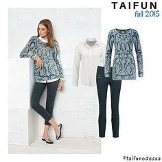 Рубашка + пуловер TAIFUN - это не просто рецепт идеального офисного look-а, но и очень отличный комплект для зимы. Носить такую пару лучше с узкими брюками, дополняя выразительными аксессуарами: серьгами или браслетом. #taifun #taifunodessa #casual #classystyle #gerryweber #whiteshirt #aw2015 #trend