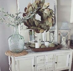 A room will look beautiful if the entrance has been beautifully decorated and one of the ideas is rustic farmhouse entryway decoration. Home decoration can be a fun activity because you will be thr… Country Decor, Rustic Decor, Farmhouse Decor, Farmhouse Style, Farmhouse Buffet, Rustic Buffet, Farmhouse Ideas, Vintage Farmhouse, Farmhouse Design