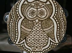 Owl Henna Tambourine by RedwoodHenna on Etsy, $45.00