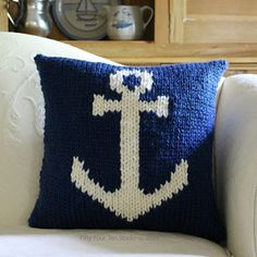 """""""The Anchor Pillow"""" knitting pattern by Fifty Four Ten Studio.  Knit with super bulky yarn.  Quick, intarsia knitting.  Navy & White / Anchor / Nautical"""