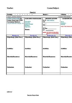 Weekly Lesson Plan Template - TEKS, C-Scope, Teaching Strategies, Modifications, Learning Style, etc.