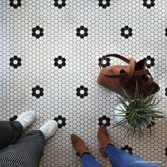 Penny Tile Stencils - Hexagon Shape Tiles Floor Stencils for Bathroom – Royal Design Studio Stencils Penny Tile Floors, Bathroom Floor Tiles, Hexagon Floor Tile, Kitchen Floor Tile Patterns, Shiplap Bathroom, Best Bathroom Flooring, Bathroom Interior, Craftsman Bathroom, Tiles For Bathrooms