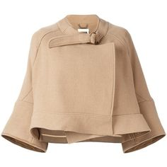 Chloé cropped jacket (89.695 RUB) ❤ liked on Polyvore featuring outerwear, jackets, beige jacket, collar jacket, 3/4 sleeve jacket, chloe jacket and beige cropped jacket
