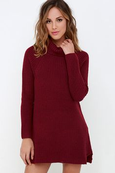 LuLu*s Exclusive! Everything is set for a day of fun when you've got the Apple Pie Order Wine Red Sweater Dress in your repertoire! Ribbed turtleneck tops this cute, knit dress with long raglan sleeves. Straight-cut bodice ends in a notched hem for a fun final detail. Unlined. 55% Cotton, 20% Viscose, 20% Nylon, 5% Wool. Hand Wash Cold or Dry Clean. Imported.