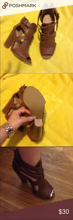 Bamboo Chestnut Heeled Sandals Size 6 Worn twice Bamboo Shoes