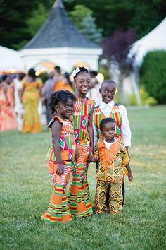cute! children in traditional kente cloth during wedding reception. ghanaian wedding. petronella photography