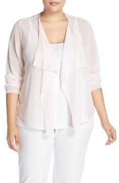 Eileen Fisher Organic Linen Drape Front Cardigan (Plus Size)