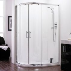 The ICE Offset Quadrant Shower Enclosure available in various sizes to match the requirement of any bathroom or en-suite. Cheap Bathroom Suites, Monochrome Bathroom, New Home Designs, Shower Enclosure, Bathroom Suites, Tall Cabinet Storage, Locker Storage, Bathroom Interior, Bathroom Decor