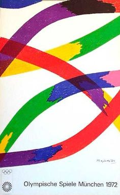 DP Vintage Posters - Original Vintage 1972 Munich Olympics Art Series Poster rainbow abstract