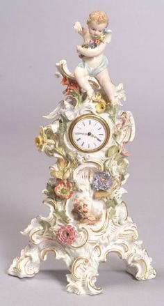 Meissen Porcelain Figural Clock Case | Sale Number 2313, Lot Number 144 | Skinner Auctioneers Mantel Clocks, Old Clocks, Antique Clocks, Faberge Jewelry, Unusual Clocks, Shabby Chic Antiques, Angel Decor, Antique Watches, Desk Clock