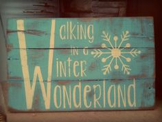 "Vintage Pallet Wood Christmas Sign. ""Walking in a Winter ..."