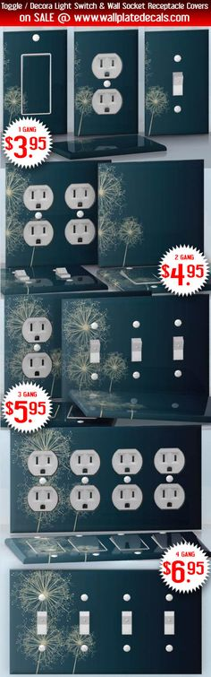 DIY Do It Yourself Home Decor - Easy to apply wall plate wraps | Midnight Dandelions  White Dandelions on dark blue  wallplate skin stickers for single, double, triple and quadruple Toggle and Decora Light Switches, Wall Socket Duplex Receptacles, and blank decals without inside cuts for special outlets | On SALE now only $3.95 - $6.95