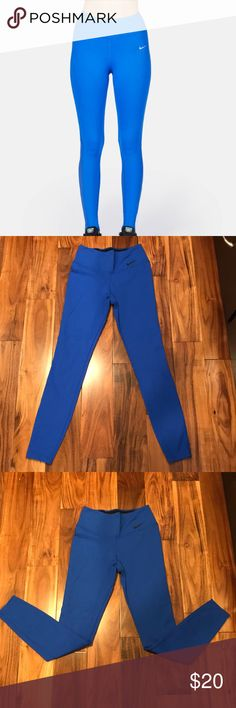 Blue Nike Leggings These have just been sitting in my dresser and I forgot about them. I never worn them. They are blue and are fit like regular leggings. Nike Pants Leggings