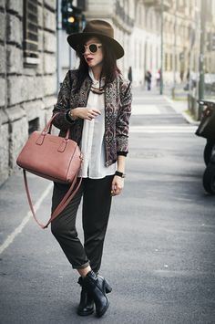 MFW day 2 - Sporty Baroque #hat #pink #bag #onceupontime