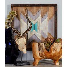 """Litton Lane 20 in. x 20 in. """"Symmetrical Geometric Pattern"""" Framed Wooden Wall Art 95452 - The Home Depot"""