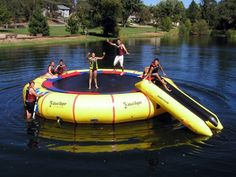 A day on the lake is always fun, but what if there was a way to make it even better than you could have imagined? This trampoline is designed to easily support up to four adults at a time, and to float out on the water for as long as you like. Check it out