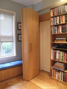 Hidden door, leaves the original door in place but hidden behind a pivoting shelf.