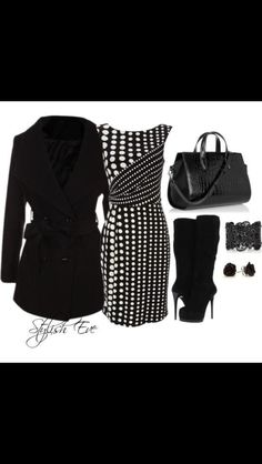 Black and White Winter 2013 Outfits for Women by Stylish Eve. Cute outfits on website. Minus the boots. Komplette Outfits, Fashion Outfits, Womens Fashion, Winter Outfits, Polyvore Outfits, Dress Shorts Outfit, Dress Boots, Winter Typ, Winter Coat