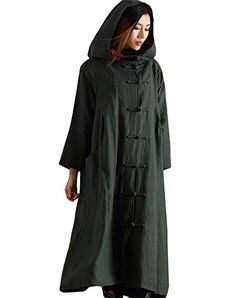 Minibee Womens Button Hoody Outwear Coat with Pockets Style 1 Army Green >>> Want additional info? Click on the image.