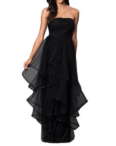 OLadydress Women's Lace Bodice Asymmetrical Tulle Empire A-line Long Prom Dress Black US10. Meterial:Lace,Tulle,Satin;. Detail:Strapless,Zipper Back,Built in Bra;. Custom size&color service available;. Any questions,please feel free to contact with us without any hesitation~. Note:This item only contains the dress.If the dress belongs to ball gown,there will be a better visual effect with a petticoat.Given the factors like the difference of the computer screen intensity,there might be...