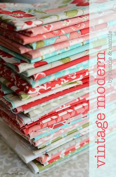 Vintage Modern by Bonnie & Camille (Moda) This is the colors and fabrics I want in my new kitchen. A perfect mix of retro, vintage, and modern. Love the aqua, red, pink, green mix!