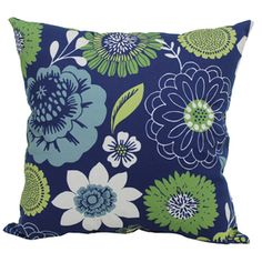 Lowes Garden Treasures Blue Multi UV-Protected Square Outdoor Decorative  Pillow