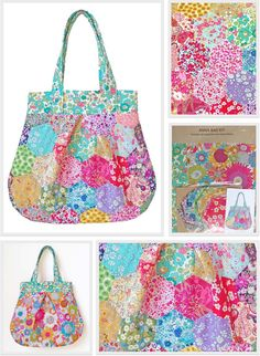New Liberty Fabric Hexagons Patchwork Anna Bag Kit