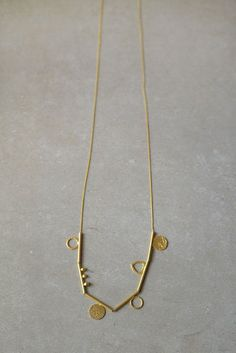 Random Geometric round Shapes - Long Golden Shapes Handmade metal Necklace