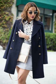 Discover this look wearing Navy Peacoat Marks And Spencer Coats, Tan Fur Marks And Spencer Bags - 5 Winter Fashion Essentials by StilettoBeats styled for Preppy, Art Opening in the Winter Preppy Outfits, Preppy Style, My Style, Winter Essentials, Fashion Essentials, Peacoat Outfit, Loafers Outfit, Elegant Outfit, Chic