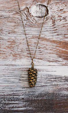 Rustic PINE CONE Pendant Long Necklace Nature