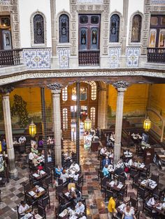 Restaurante de la Casa de los Azulejos-Mexico City from the second floor...another view...can you imagine living in a home like this?? This was in private hands of the owners until the 19th century...