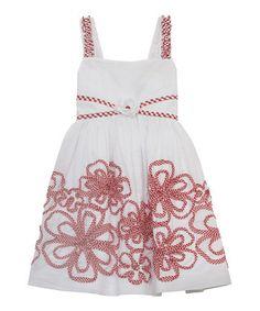 White Gingham Floral Soutache Dress - Toddler & Girls