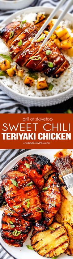 5 Minute prep Easy Teriyaki Chicken infused with Sweet Chili Sauce for added depth of flavor and YUM! The marinade doubles as the sauce for an easy family favorite that tastes better than takeout! My family loves this with rice and stir fried veggies and Veggie Fries, Veggie Stir Fry, Turkey Recipes, Chicken Recipes, Dinner Recipes, Drink Recipes, Teriyaki Chicken And Rice, Marinade Chicken, Teriyaki Marinade