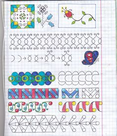 Use graph paper to develop consistency and accuracy Tangle Doodle, Tangle Art, Zen Doodle, Doodle Art, Zentangle Drawings, Doodles Zentangles, Doodle Drawings, Doodle Designs, Doodle Patterns