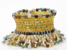 Bead Woven Cuff Bracelet Woven Bead Bracelet Seed by TheStudioElle, $125.00