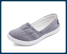 Minetom Damen Beiläufig Loafer Schuhe Segeltuch Slip On Flache Ferse Schuhe  Runde Zehe Schuhe Grau 40
