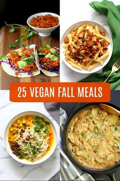 25 Vegan Fall Meals for a chilly day!Casseroles, chilis, gratins, pot pies, soups, and curries. Many are 1 Pot meals. Vegan Fall Recipes. Gluten-free Soy-free options. #veganricha