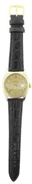 Rolex Datejust 16013 18K Bezel Black Leather Champagne Diamond Dial Automatic 36mm Mens Watch