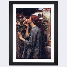"""East Urban Home 'The Soul of the Rose' by John William Waterhouse Framed Painting Print Frame Color: Black, Size: 32"""" H x 24"""" W x 1"""" D"""