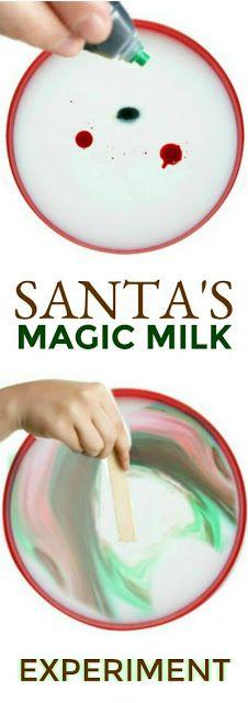 """SANTA'S MAGIC MILK"" Super fun science for kids! My littles were in awe! #magicmilk #scienceforkids #christmasactivitiesforkids"